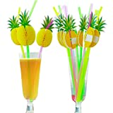 Elaine Room Umbrella Straws Disposable Drinking Bendable Plastic Straw with Paper Umbrella for Hawaii Luau Party Bars Club Cold Drink Cocktail Coconut Juice (pineapple 50pcs)