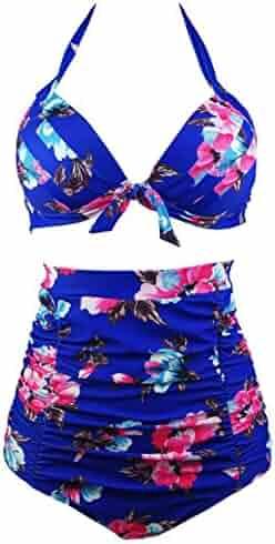 b5fc2a0661 COCOSHIP Retro 50s Black Pink Blue Floral Halter High Waist Bikini Set  Halter Carnival Swimsuit(