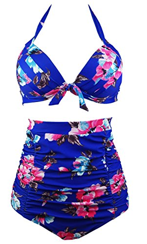 COCOSHIP Retro 50s Blue Red Floral Halter High Waist Bikini Carnival Swimsuit Bathing Suit S(FBA)