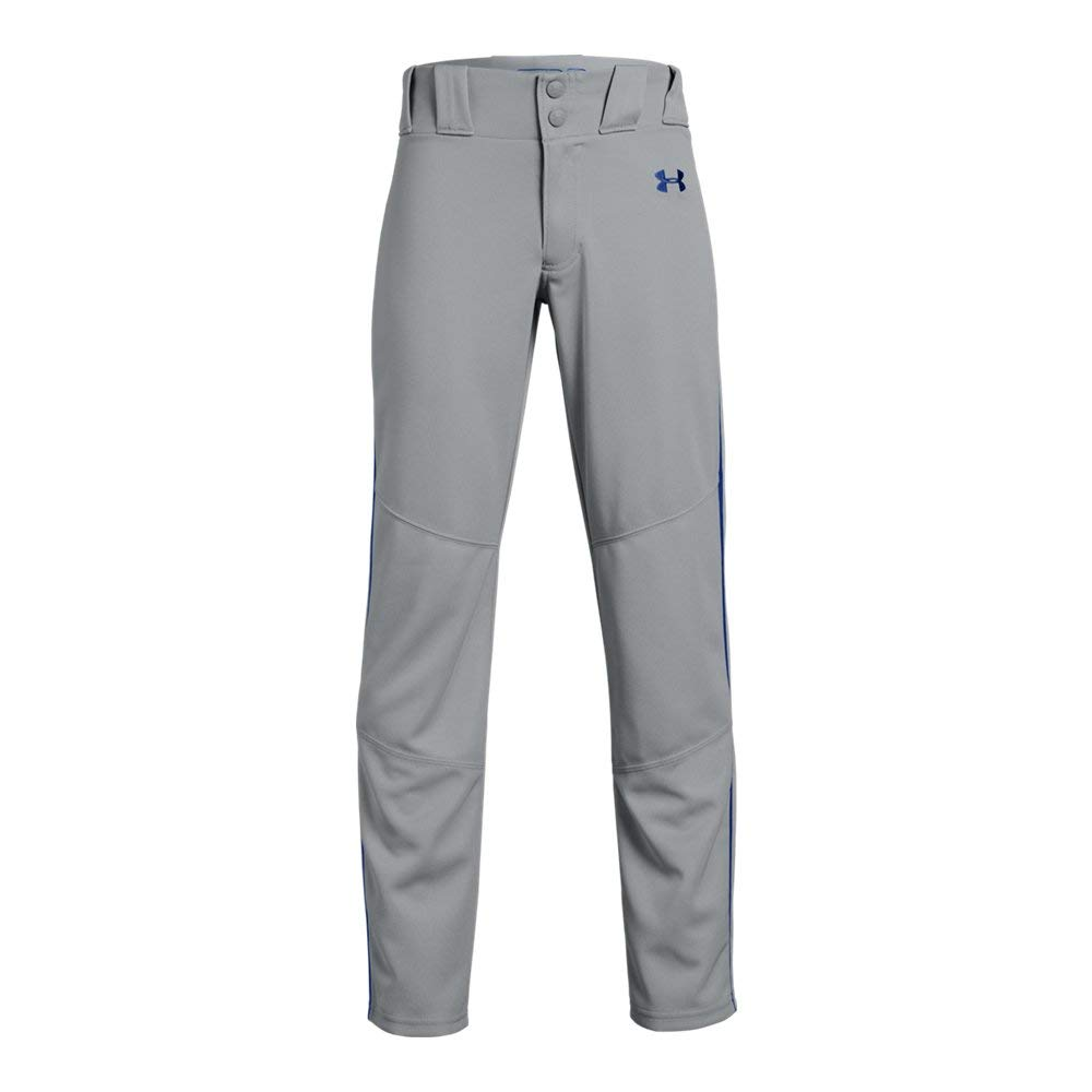 Under Armour Boys' Utility Relaxed Piped Baseball Pant, Gray (081)/Royal, Youth X-Large by Under Armour
