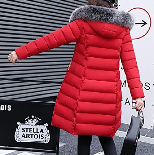 Mid Collar Fur Long Red XINHEO Coat Jacket Thick Reversible Skinny Women's F5wxqO1