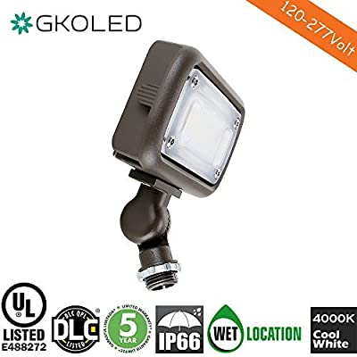 "15W Outdoor LED Flood Security Lights, Waterproof Landscape Lighting, 50W PSMH Equivalent, 1500 Lumens, 4000K Cool White, 1/2"" Adjustable Knuckle, UL-Listed, DLC4.2 Qualifiled, 5 Years Warranty"