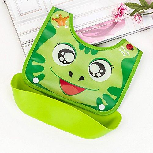Wasserdichtes Baby-Silikon-Lätzchen für Mädchen Jungen Unisex Kleinkinder , Lätzchen mit Beutel-Taschen-Food-Catcher Grün
