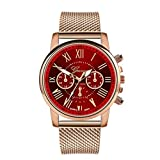 Toponly Women Luxury Quartz Wrist Watches Sport Military Stainless Steel Dial with Leather Band