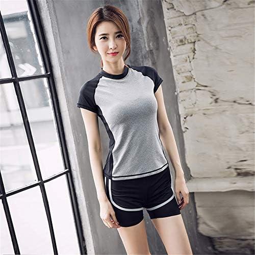 レディースジャージ上下セット 女性のスポーツウェアランニングフィットネスヨガレギンスセットジムトレーニング服 (Color : Gray, Size : S)
