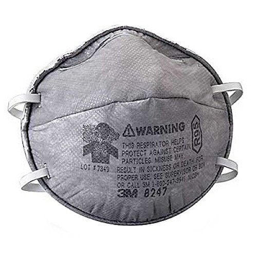 3M 8247 R95 Particulate Respirators - Standard Size, Cup Style, 20 Count