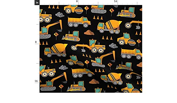 white yellow fat quarter cotton poplin with construction vehicles on black