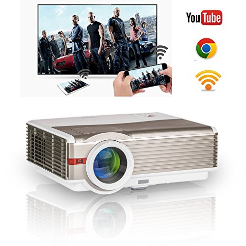 Smart Wifi Video Projector 1080P 720P Home Theater LED 4200 Lumen Wireless HD Android LCD Projector HDMI USB AV for iPhone, iPad, Mac,PS4, Xbox, Wii, Cell Phone/ Tablet, TV, DVD, -
