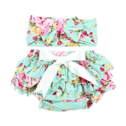 Baby Girl's Bloomer and Headband Set with Bowknot Soft Lace Ruffle Diaper Cover