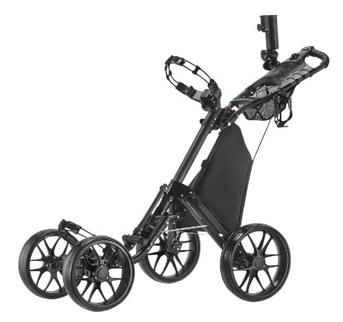 Golf Push Pull Carts - CaddyTek One-Click Folding 4 Wheel Version 3 Golf Push Cart, Dark Grey