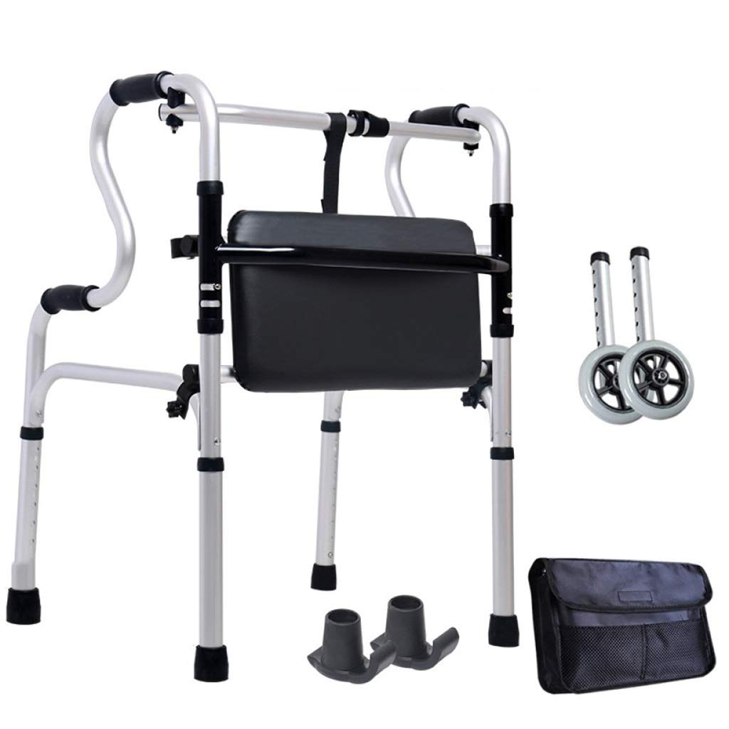 Folding Lightweight Aluminium Walking Frame with Wheels with Limited Mobility for Handrails Auxiliary Walking Safety Walker (Size : with Bag)