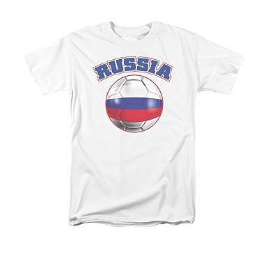 Rusia orgullo bandera de balón de fútbol adultos camiseta: Amazon ...