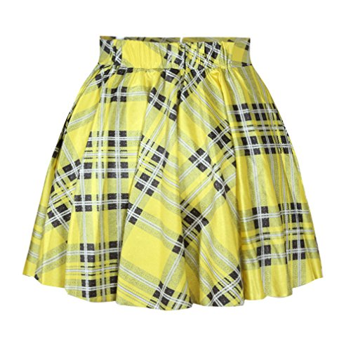 Women's Flared Stretch Soft Tartan Yellow Print Pleated Mini Dress ...