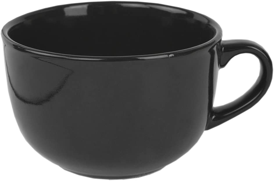 Home Basics 22 oz Extra Large Ceramic Jumbo Soup or Coffee Mug, Hot or Cold Beverage, Comfortable Grip Handle, Black