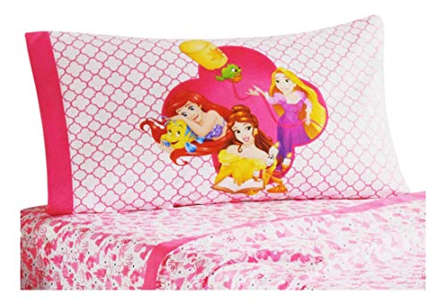 ss 3 Piece Twin Bed Sheets - Ariel, Belle, Rapunzel - Girls Pink Microfiber Bedding Set ()