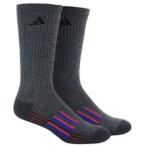Adidas Nylon Crew Socks (adidas Men's Climalite X II Crew Socks (Pack of 2), Tech Grey-Black Marl/Solar Red/Night Flash Purple, One)