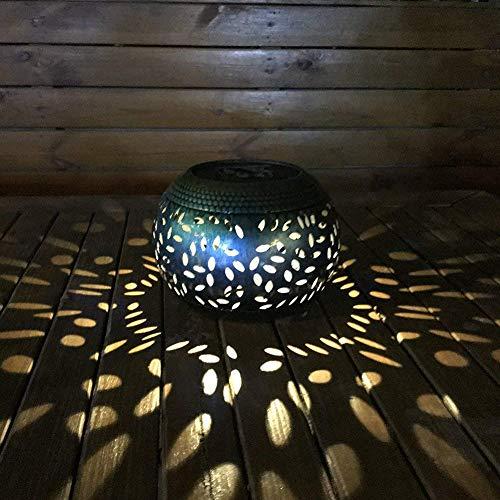 Whitelotous Solar Lantern Outdoor Garden Lights Metal Waterproof LED Lights Decorative Lamp