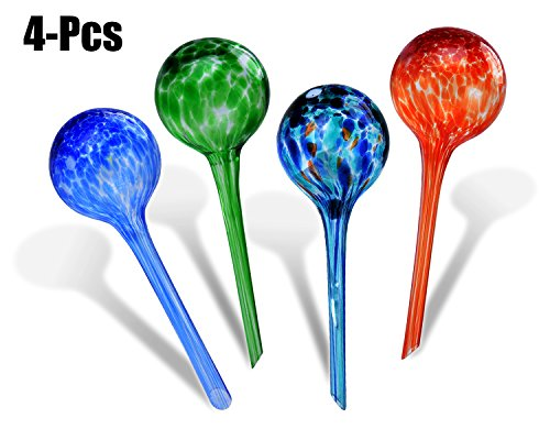 Fascigirl Plant Watering Globes 4 Pcs Automatic Glass Watering Bulbs Colorful Self Watering System Hand-Blown Glass Plant Water for Garden 2.75inch