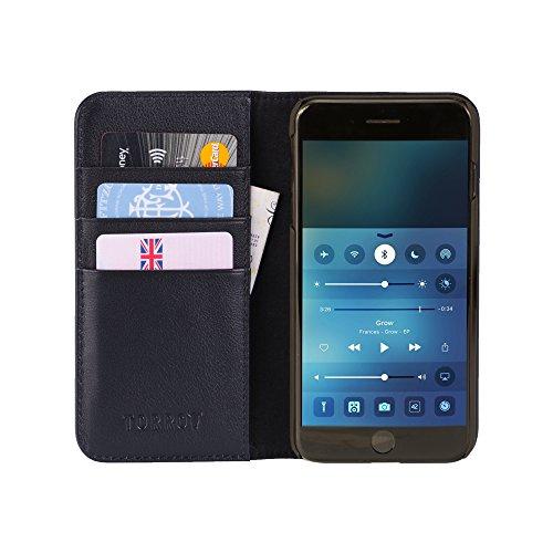 iPhone 8 Plus / iPhone 7 Plus Ledertasche / Hülle. Echtes, hochwertiges Leder mit Standfunktion und Bargeld- / Visitenkartenslot, Alle schwarz von TORRO