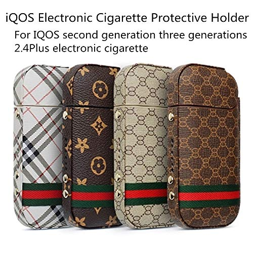 Iqos Electronic Cigarette Protective Holder Smooth Leather High Quality PU Thin Type Improved Scratch Side Button Full Cover 2.4 Plus Support,Khaki by Mmyunx (Image #1)