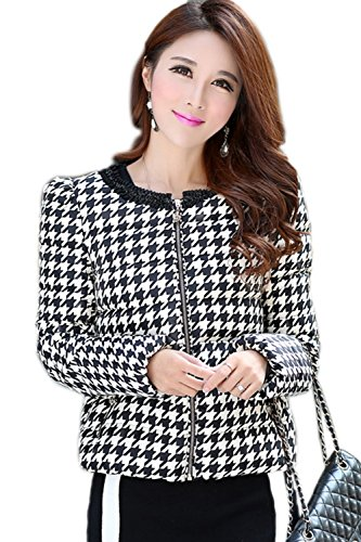Elegante cremallera Plaid de la mujer chaqueta