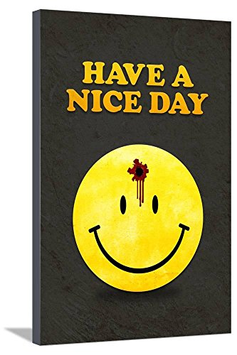 ArtEdge Have a Nice Day Smiley Face with Bullet Hole Black A