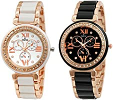 Swisstyle Combo of 2 Analogue White Dial Womens Watches