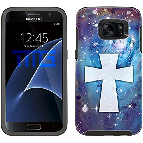Skin Decal for Otterbox Symmetry Samsung Galaxy S7 Edge Case - Maltese Cross on Nebula Blue Sales
