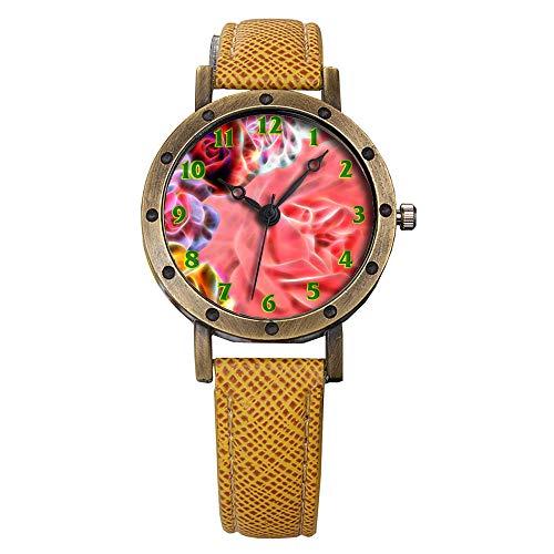 GIRLSIGHT Brand Retro Bronze Vintage Leather Strap Watches Ladies Girl Quartz Watch Abstract Flowers 575.Spring Collage Iris Collage Flower Collage -