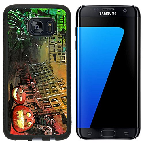 [MSD Premium Samsung Galaxy S7 Edge Aluminum Backplate Bumper Snap Case Halloween pumpkin old town painting IMAGE] (Cute Halloween Ghost Clip Art)