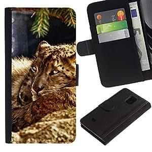 All Phone Most Case / Oferta Especial Cáscara Funda de cuero Monedero Cubierta de proteccion Caso / Wallet Case for Samsung Galaxy S5 Mini, SM-G800 // Leopard Furry Beast Nature Animal Cat
