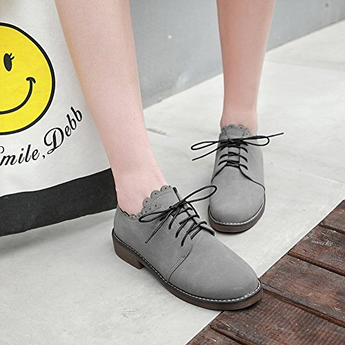 Carolbar Womens Lace Up Decorative Border Casual Low Heel Oxfords Shoes Grey BD84sHv