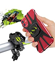 """Bike Phone Mount 360° Rotation, TEUMI Detachable Phone Holder for Bike Handlebars, Anti Shake Motorcycle Phone Mount Compatible with iPhone 12 Pro Max/12 Mini/11 Pro Max/X/XS MAX/XR/8 Plus, 4.7""""-7.5"""""""