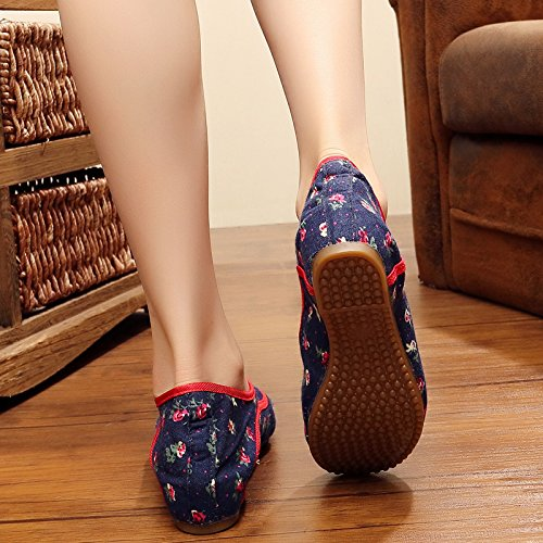 Bordada La Tela Viejos Aumento Tendón Del Inferior Folk En gules De Exportación Beijing Profundo Zapatos Estilo Extremo De Flor Zapatos Zapatos KHSKX El Engrosamiento Northeast En wXqIZZ