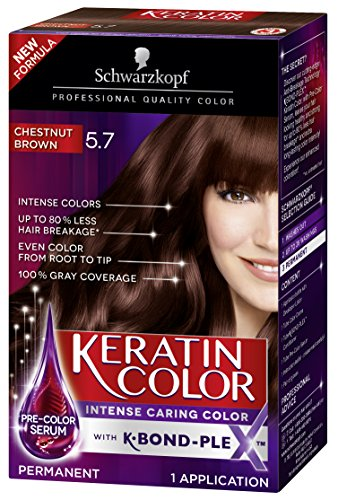 Schwarzkopf Keratin Color Anti-Age Hair Color Cream, 5.7 Chestnut Brown (Packaging May Vary), 1 Count