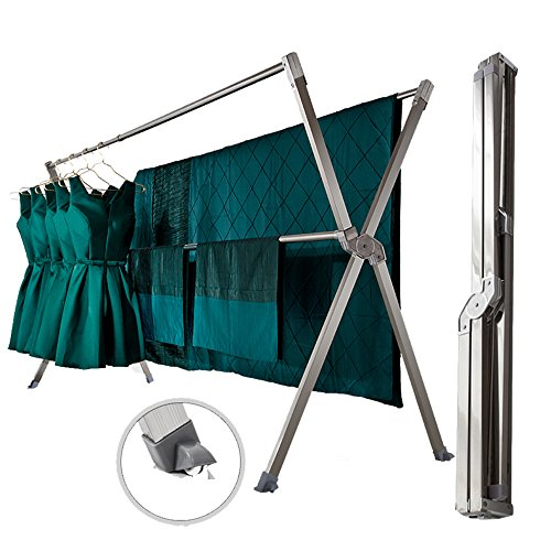 iEllevie Rolling Fodable Double Rods Stainless Steel Expanda
