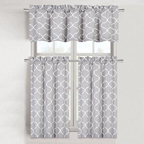 Regal Home Collections Shabby Trellis Kitchen Curtain Tier & Valance Set - Assorted Colors (Maison Gray) by Regal Home Collections (Image #1)