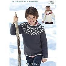 Sirdar Childrens Fair Isle Sweaters Supersoft Knitting Pattern 2362 Aran