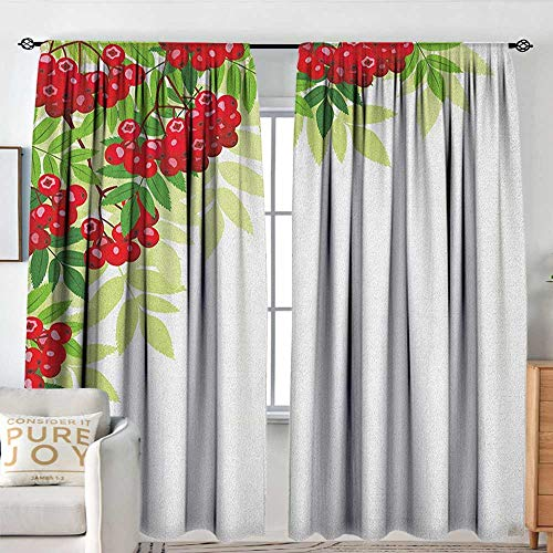 Pattern Curtains Rowan,Vibrant Bunch of Ripe Berries with Fresh Green Leafage Corner Design, Red Lime Green Apple Green,All Season Thermal Insulated Solid Room Drapes 84