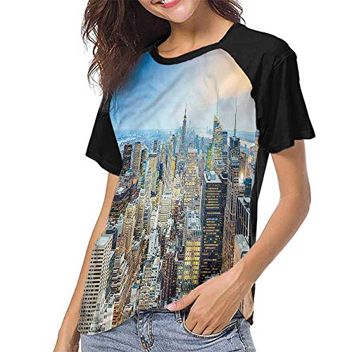 (Raglan Sleeve Baseball Tshirt,American,Aerial View New York City S-XXL(This is for Size Extra Large),Womens Short Sleeve Blouses)