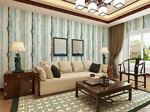 ウォールステッカーの壁画取り外し可能な壁紙ボーダー レトロカラフルな模造木材ボードストライプの壁紙アメリカンノスタルジックな木目ベッドルームリビングルームスタディバーコーヒー壁紙 (Color : B)