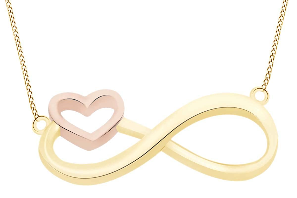 AFFY Infinity Heart Two Tone Pendant Necklace in 14k Gold Over Sterling Silver