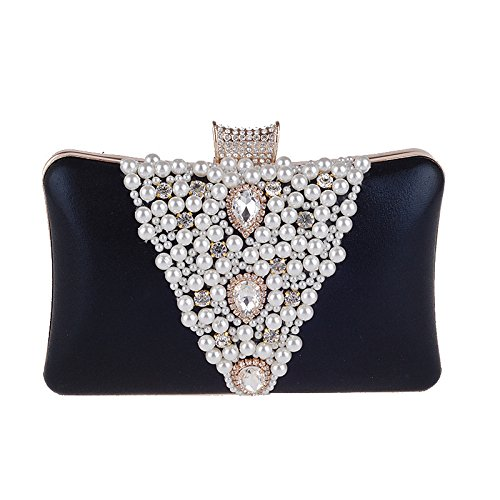 Pearl With Black Bag With 105 Evening Diamonds Women's Bag Cheongsam Female Hand Bag Portable Banquet Party Bag Dress XIAOLONGY qWEzp1Sq