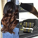 """Sunny 14"""" 20pcs/50g Ombre #1b Black to Chocolate Brown Tape in Hair Extensions Adhesive Double Sided Unprocessed Remy Seamless Skin Weft Human Hair Extensions"""