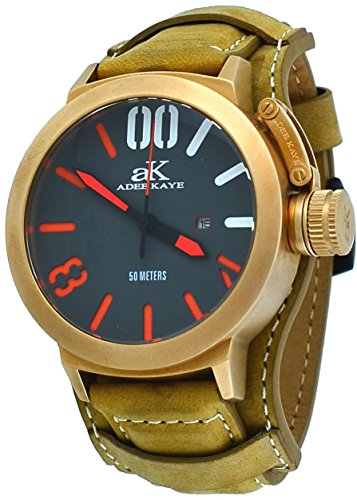 Adee Kaye #AK7285-RG/TAN Men's Rose Gold Tone Canteen Crown Protector Leather Band Watch