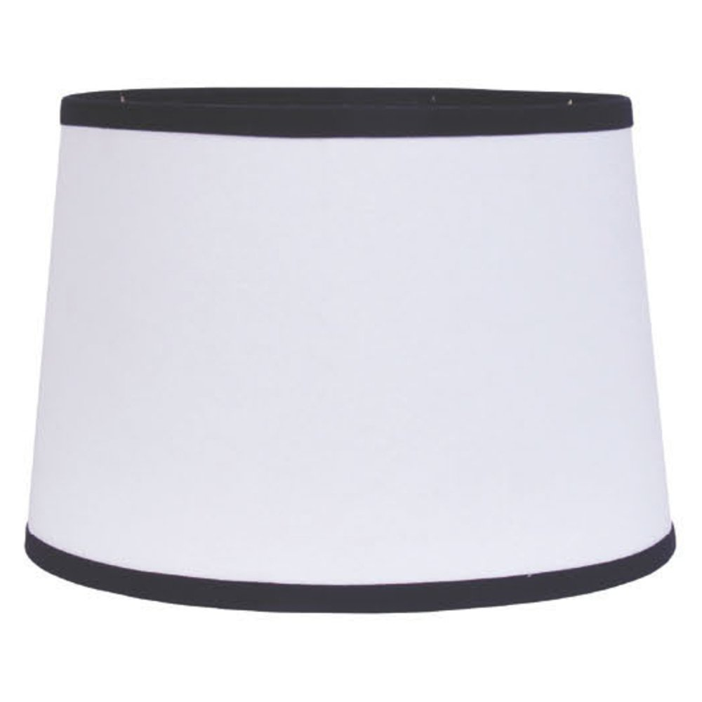Home Collection by Raghu 6D157011 Black & White Trim Washer Drum Lampshade, 16''