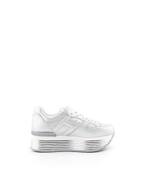 Hogan - Zapatillas de Cuero para Mujer Plateado Plateado Plateado Size: 38 EU: Amazon.es: Zapatos y complementos
