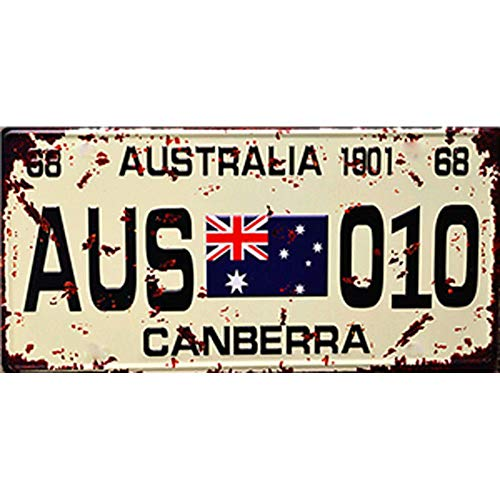 (Easy Painter 12x6inch Metal Poster Vintage Feel Metal Tin Sign Plaque for Home, Bathroom and Bar Wall Decor Car Vehicle License Plate Souvenir (Australia Canberra))