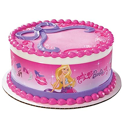 Amazon Com Barbie Fabulous Designer Prints Edible Cake Image Toys