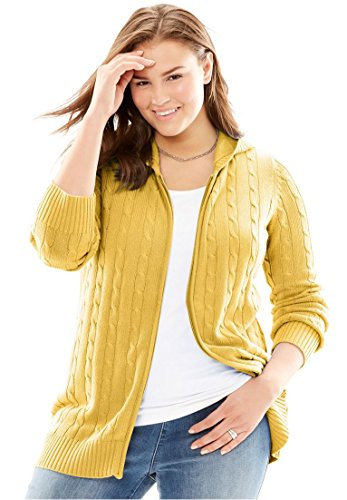 Woman Within Plus Size Cable Knit Zip-Front Cardigan